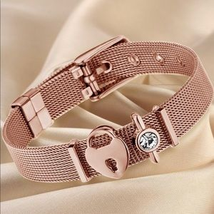 Rose Gold Mesh Charm Buckle Bracelet